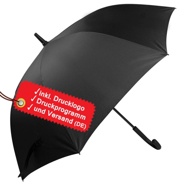 Umbrella print incl. logo, with rounded handle KiMood®