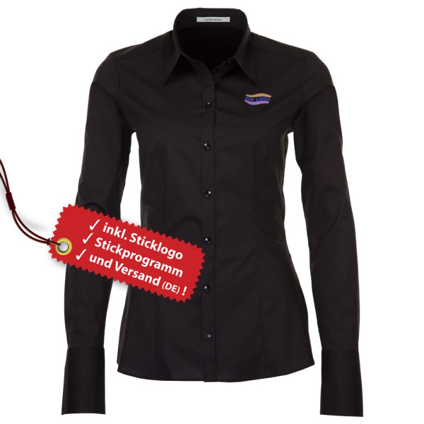 Modern stretch blouse long sleeve incl. embroidered logo Seidensticker®.