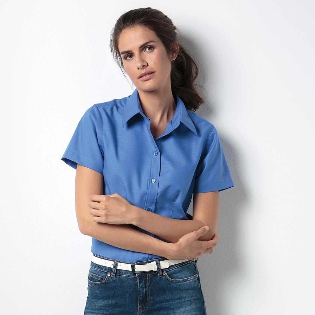 Taillierte Oxford Bluse Kurzarm Kustom Kit® | bedrucken, besticken, bedrucken lassen, besticken lassen, mit Logo |