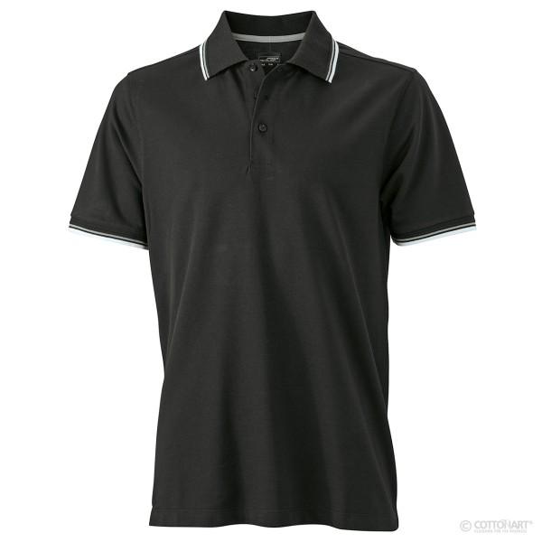 Herren Polo mit Kragen- und Ärmel-Kontraststreifen James & Nicholson®