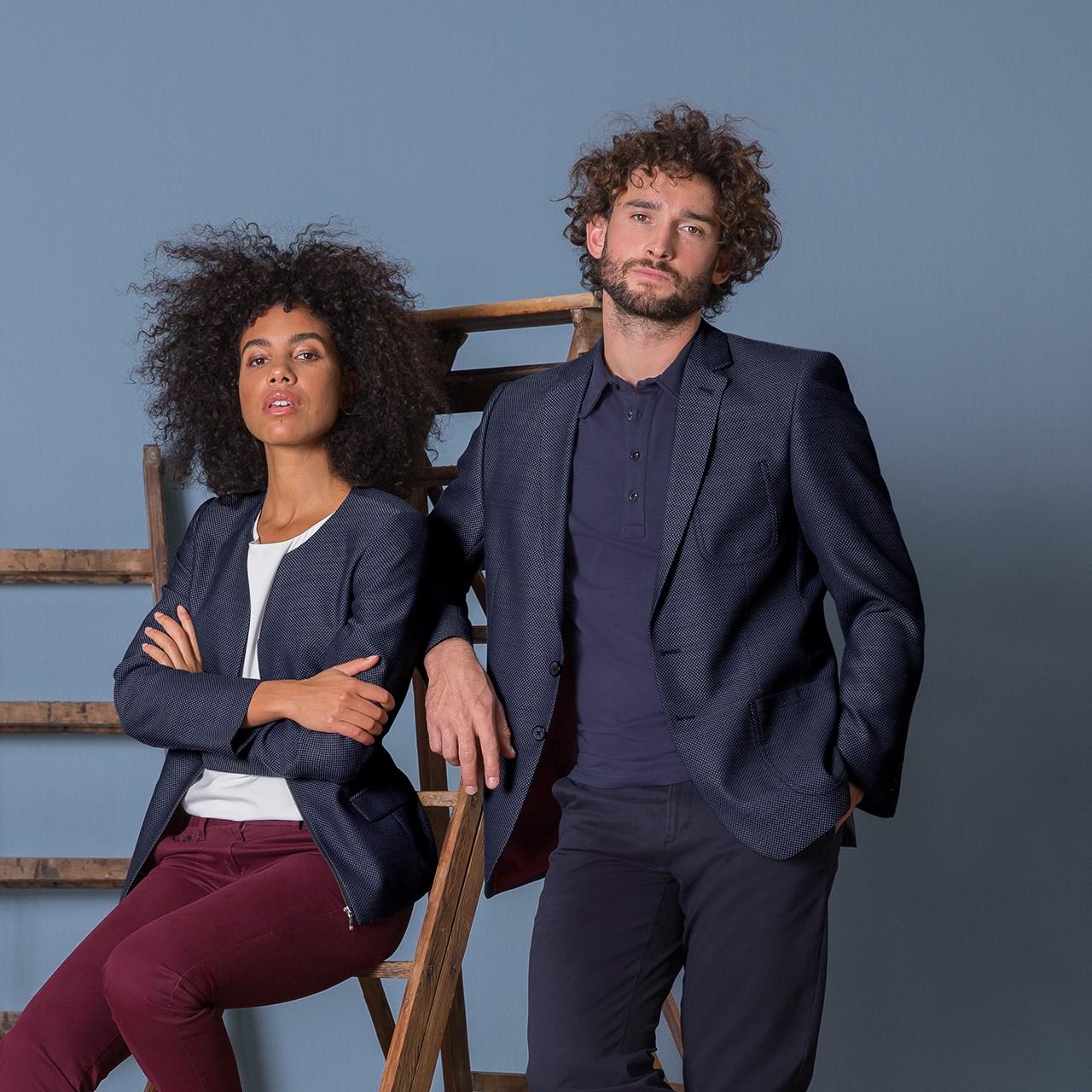 Herren Casual Sakko Blau Strukturiert Regular Fit Greiff® | bedrucken, besticken, bedrucken lassen, besticken lassen, mit Logo |