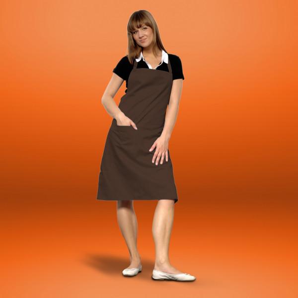 Bib apron brown with pocket cotton ART®