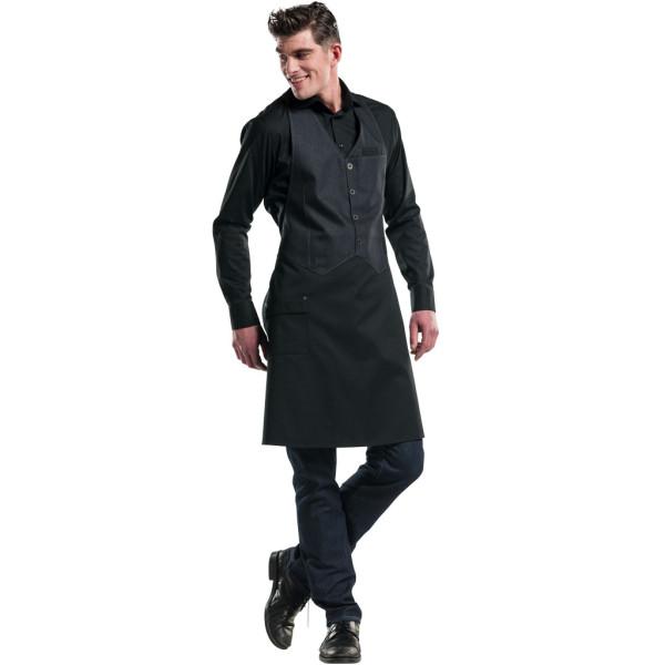 Latzschürze Barista Black Denim Chaud Devant® Black Denim personalisiert bedrucken lassen