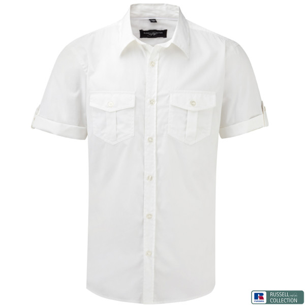 Twill shirt short sleeve fitted Russell®