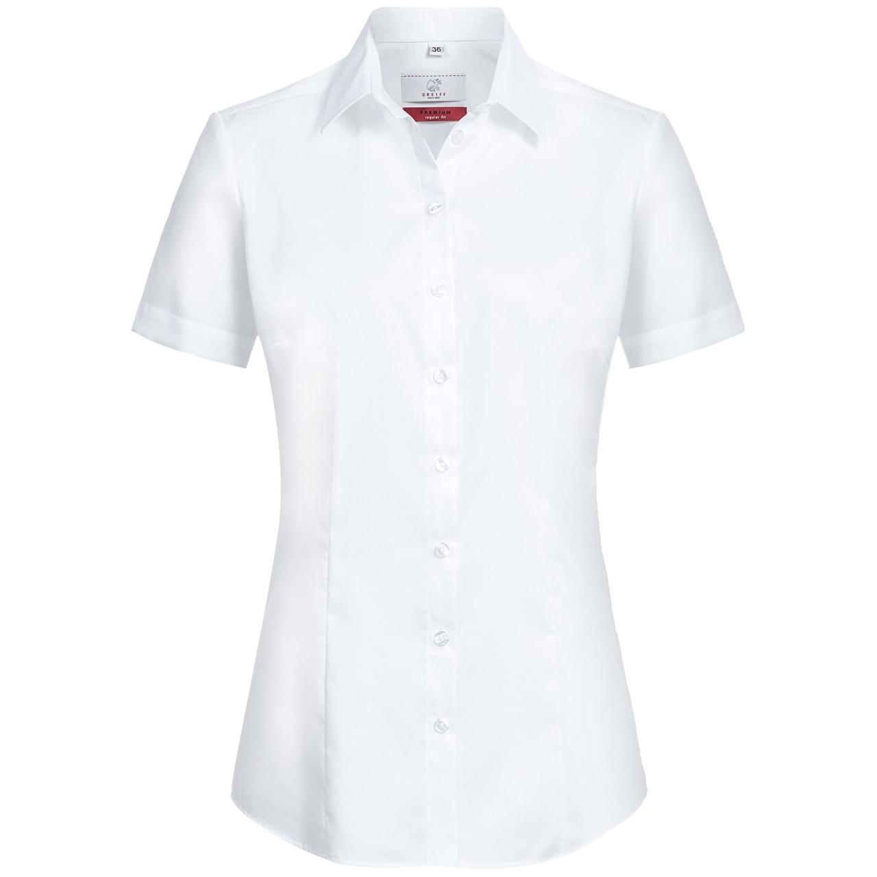 Premium Damen Halbarm Bluse Weiss Regular Fit Greiff®