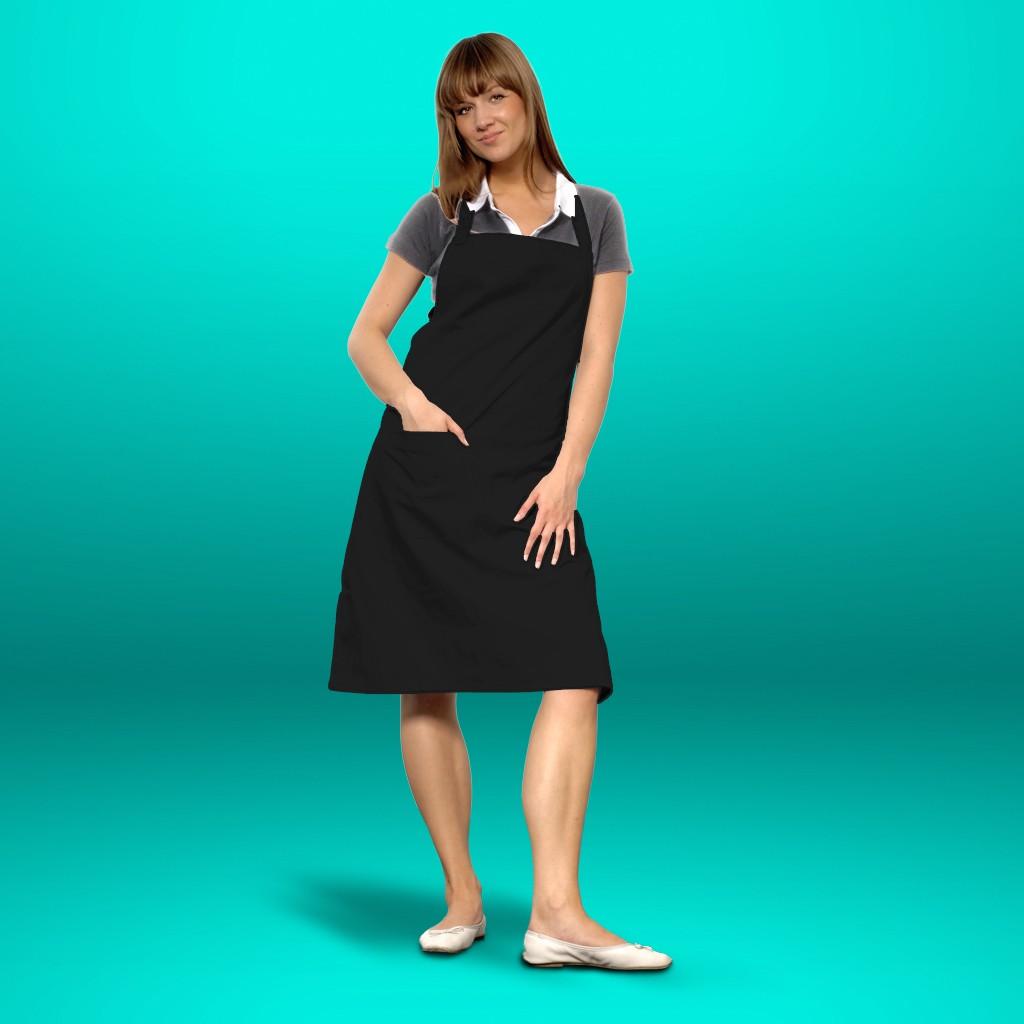 Latzschürze schwarz mit Tasche cotton ART® | bedrucken, besticken, bedrucken lassen, besticken lassen, mit Logo |