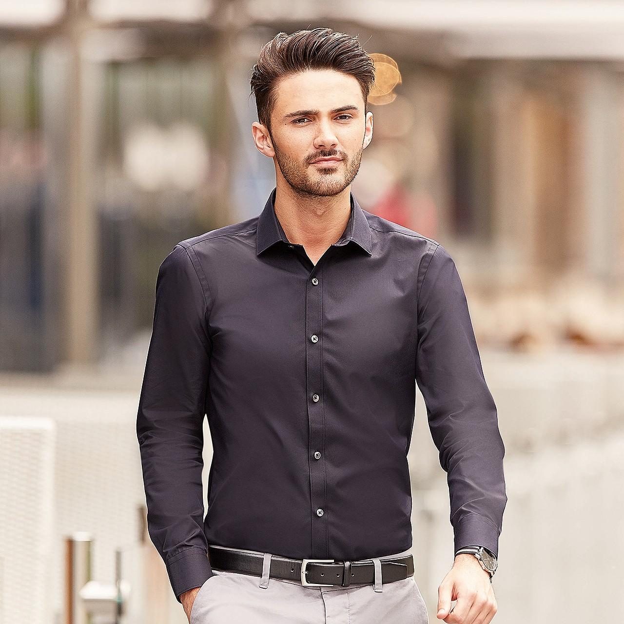Hemd Langarm Ultimate Stretch Slim Fit Russell® | bedrucken, besticken, bedrucken lassen, besticken lassen, mit Logo |