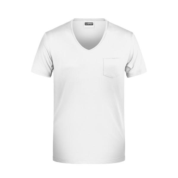 Herren V-T-Shirt mit Brusttasche James & Nicholson®
