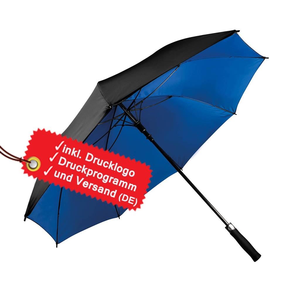 Zweifarbiger Regenschirm bedrucken lassen inkl. Logo KiMood® | bedrucken, besticken, bedrucken lassen, besticken lassen, mit Logo |