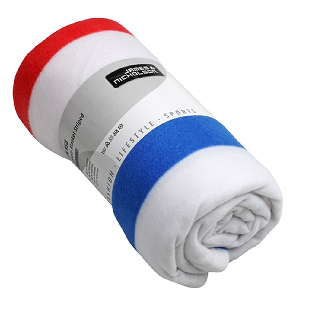 Fleece Blanket Striped James & Nicholson®   bedrucken, besticken, bedrucken lassen, besticken lassen, mit Logo  