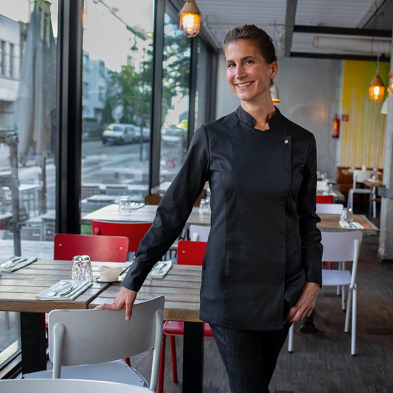 Premium Damen Kochjacke mit Druckknöpfe und Jerseyeinsatz Greiff® | bedrucken, besticken, bedrucken lassen, besticken lassen, mit Logo |