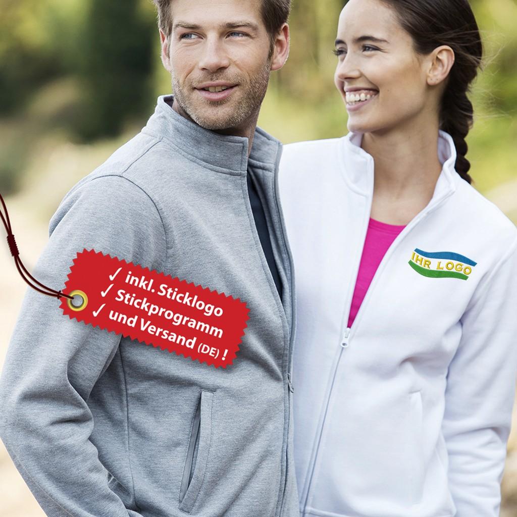 Damen Sweatjacke besticken lassen inkl. Logo Stickerei | bedrucken, besticken, bedrucken lassen, besticken lassen, mit Logo |