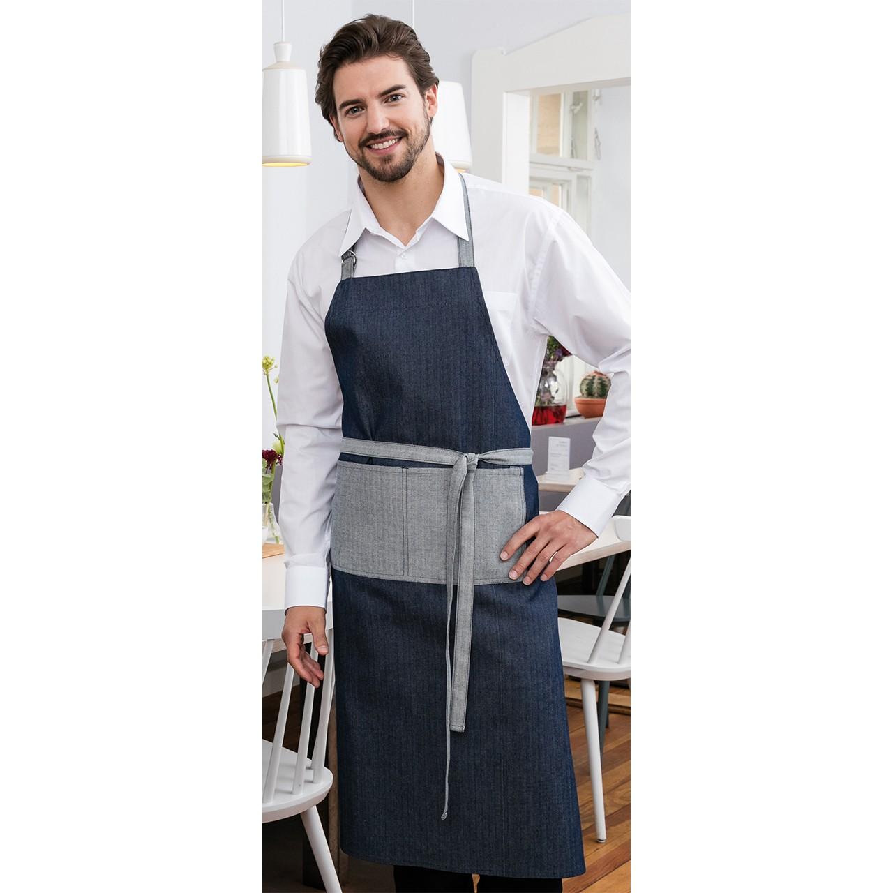 Latzschürze Denim im Jeanslook 2-farbig Exner® | bedrucken, besticken, bedrucken lassen, besticken lassen, mit Logo |