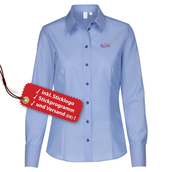Modern Fit long-sleeved blouse incl. embroidered logo Seidensticker®