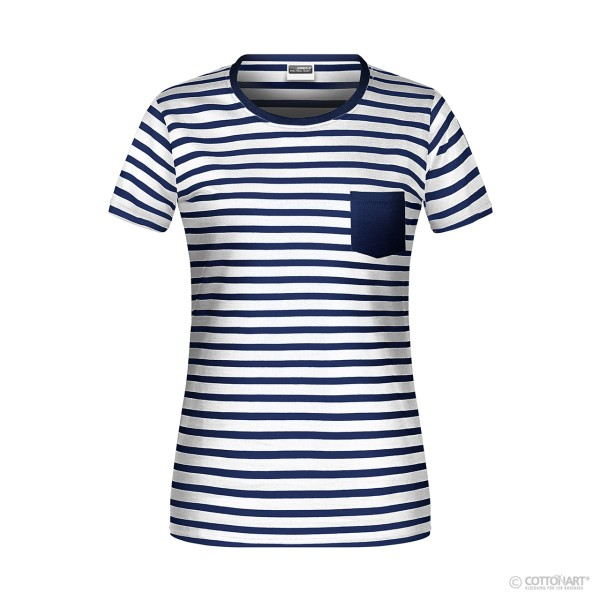 Ladies striped T-shirt organic cotton James & Nicholson®.