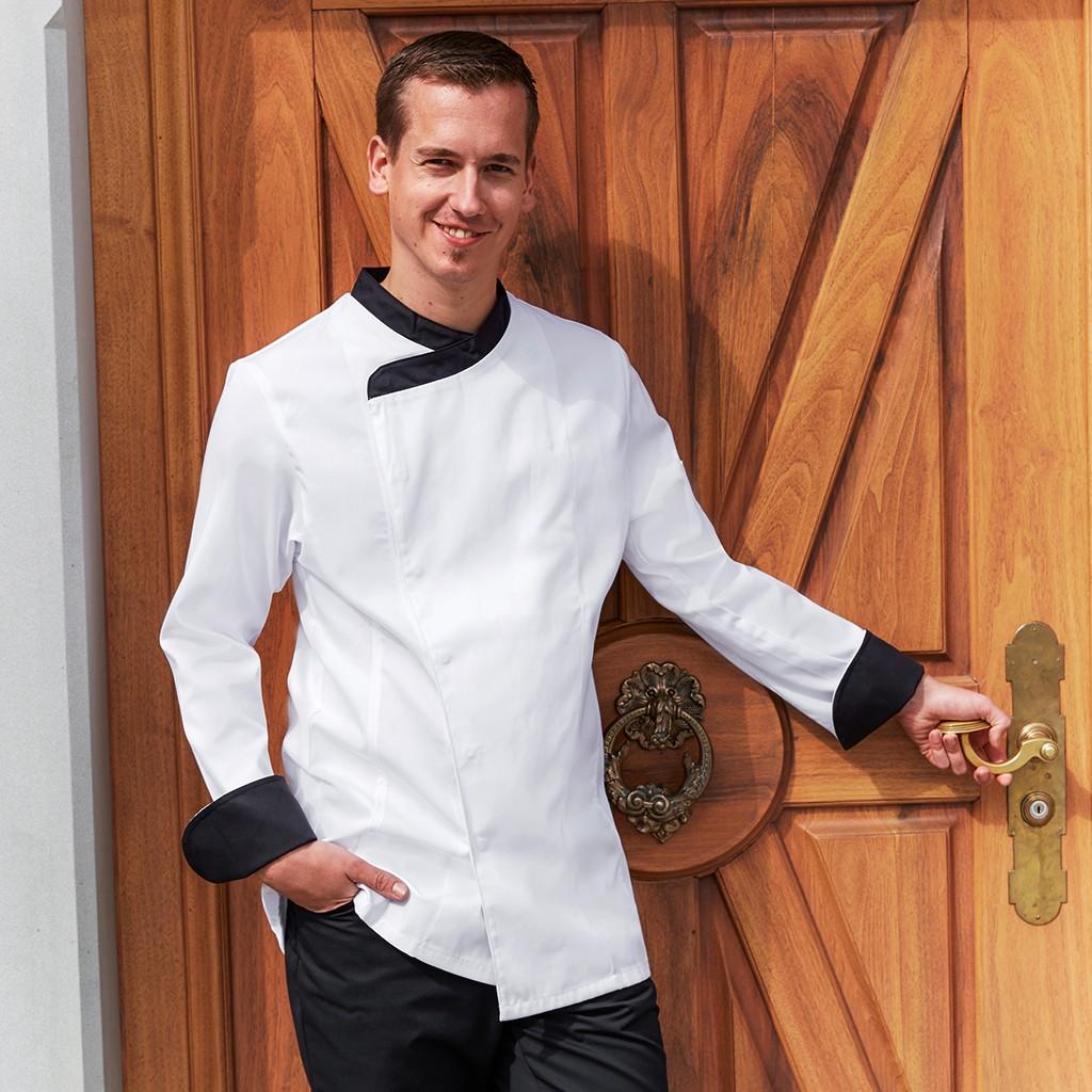 Basic Kochjacke mit Kontrastbesatz Greiff®   bedrucken, besticken, bedrucken lassen, besticken lassen, mit Logo  