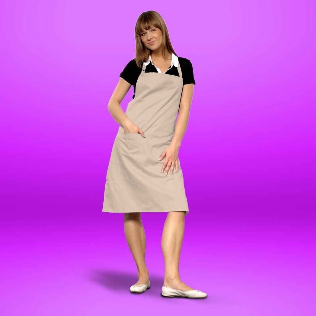 Latzschürze sand mit Tasche cotton ART® | bedrucken, besticken, bedrucken lassen, besticken lassen, mit Logo |