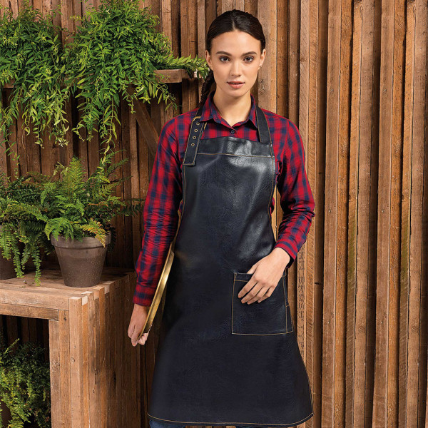 Premier® synthetic leather bib apron