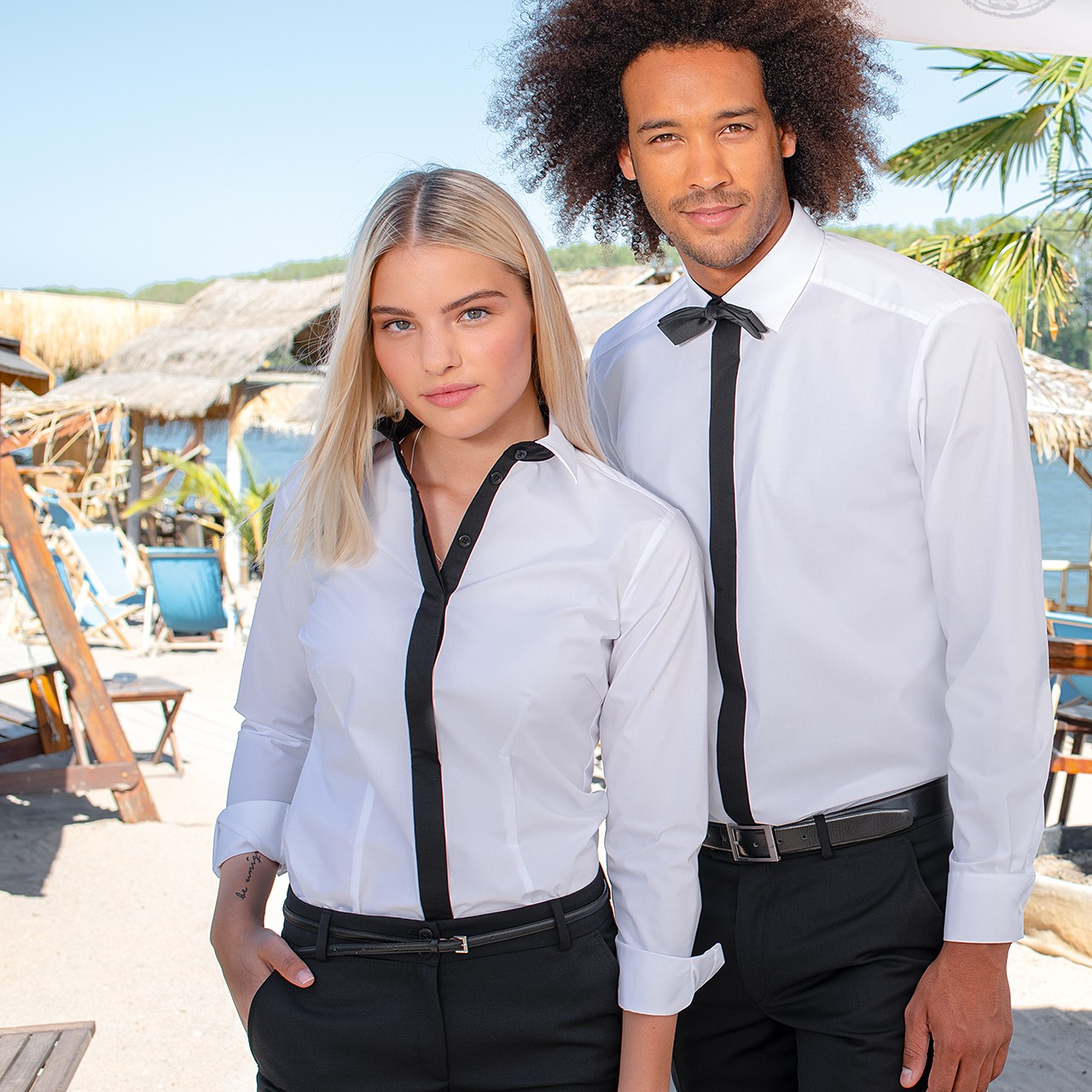 Damen-Bluse Kontrast 1/1 RF Service Greiff® | bedrucken, besticken, bedrucken lassen, besticken lassen, mit Logo |