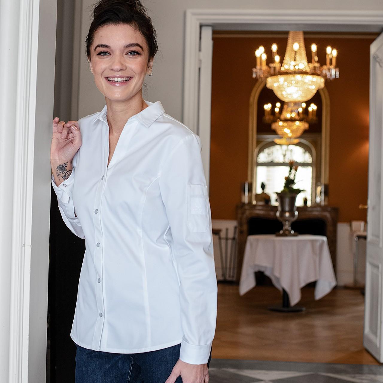 EXQUISIT Damen-Kochbluse mit V-Ausschnitt Greiff®   bedrucken, besticken, bedrucken lassen, besticken lassen, mit Logo  