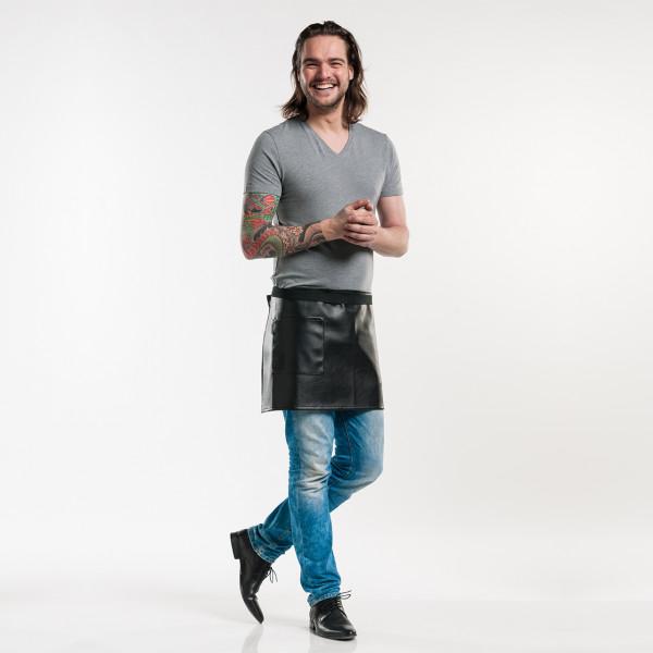 Kurze Bistroschürze Kunstleder Pellio Chaud Devant® personalisiert bedrucken lassen