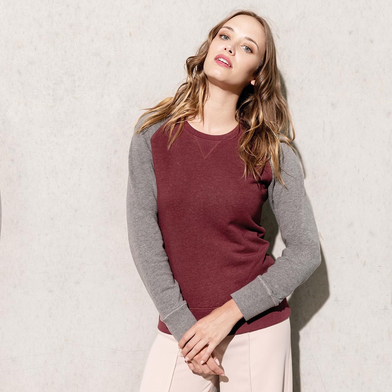 Damen Sweathshirt Zweifarbig aus Bio-Baumwolle Kariban® | bedrucken, besticken, bedrucken lassen, besticken lassen, mit Logo |
