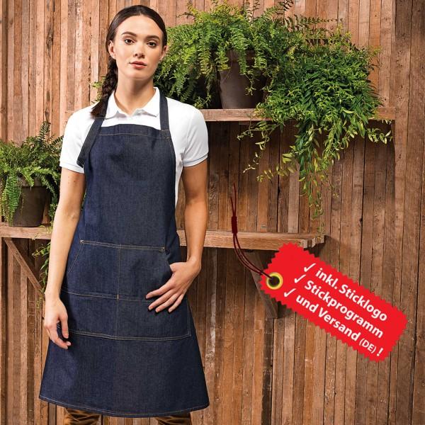 Jeans Latzschürze bestickt inkl. Logo oder Schriftzug