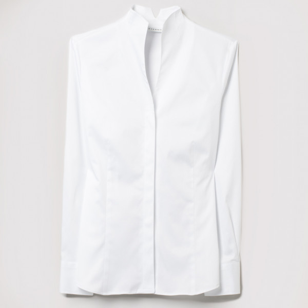 Long-sleeved blouse Stand-up collar Modern Classic Satin weave Eterna