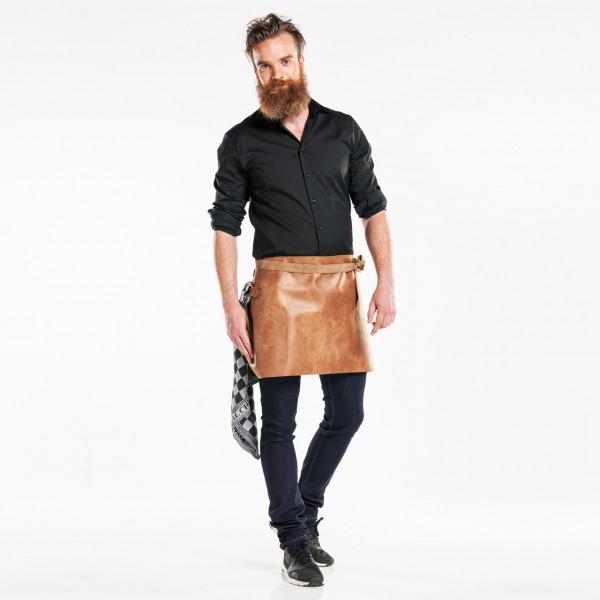 Leder Bistroschürze Hide mit Innentasche L40 Chaud Devant® Farbvariante Bourbon Gold mit Firmenlogo besticken lassen