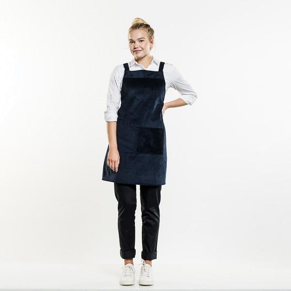 Velvet bib apron Cross with pocket Chaud Devant®