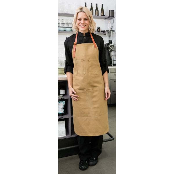 Bib apron Strong Canvas with front pocket