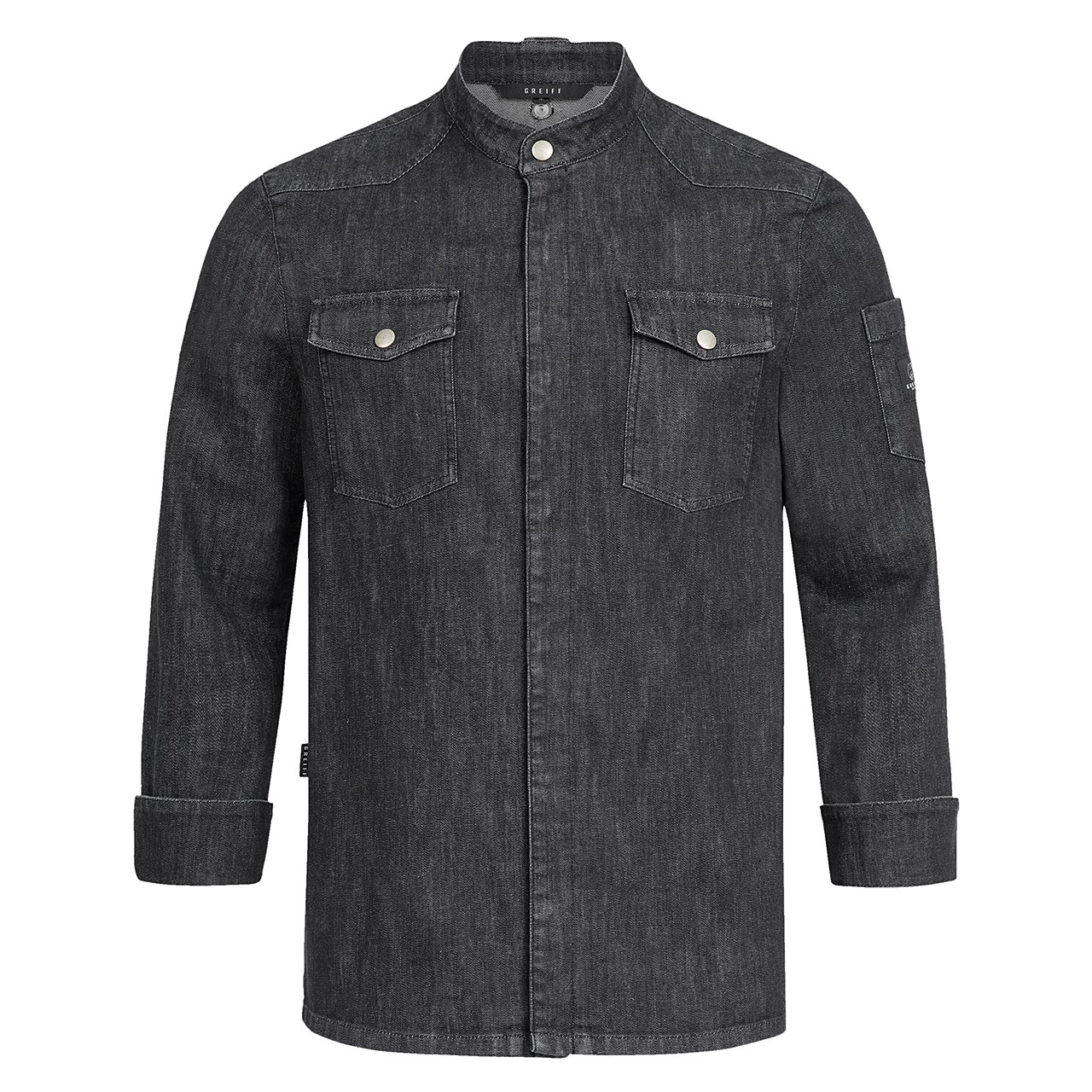 Premium Kochjacke Black Denim Greiff® | bedrucken, besticken, bedrucken lassen, besticken lassen, mit Logo |