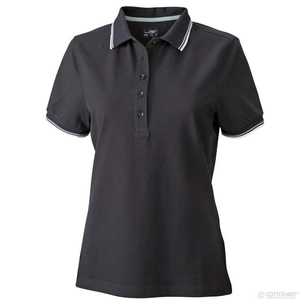 Damen Polo mit Kragen- und Ärmel-Kontraststreifen James & Nicholson®