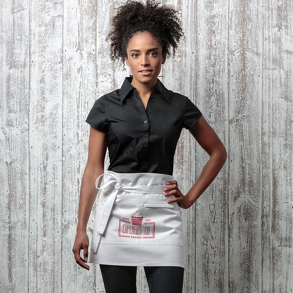 Stretch Bluse kurzarm mit Flügelärmel Tailored Fit Bargear® | bedrucken, besticken, bedrucken lassen, besticken lassen, mit Logo |