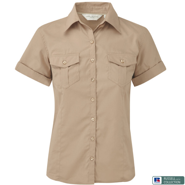 Twill blouse short sleeve Slim Fit Russell®