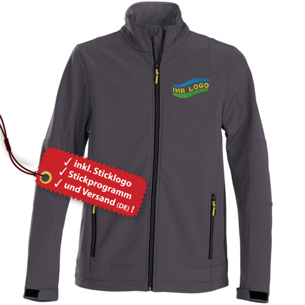 Men's softshell jacket embroidery incl. logo embroidery