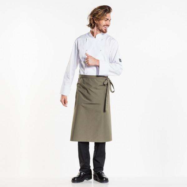 Bistroschürze Regular ohne Tasche W100-L70 Chaud Devant® Farbvariante Dark Olive besticken und bedrucken