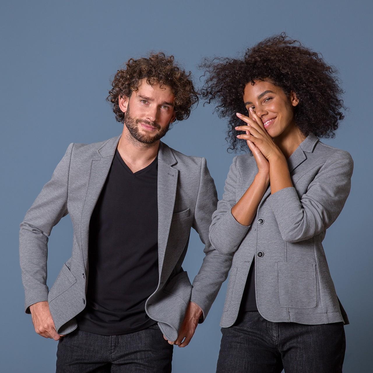 Damen Casual Jerseyblazer Grau Meliert Regular Fit Greiff® | bedrucken, besticken, bedrucken lassen, besticken lassen, mit Logo |