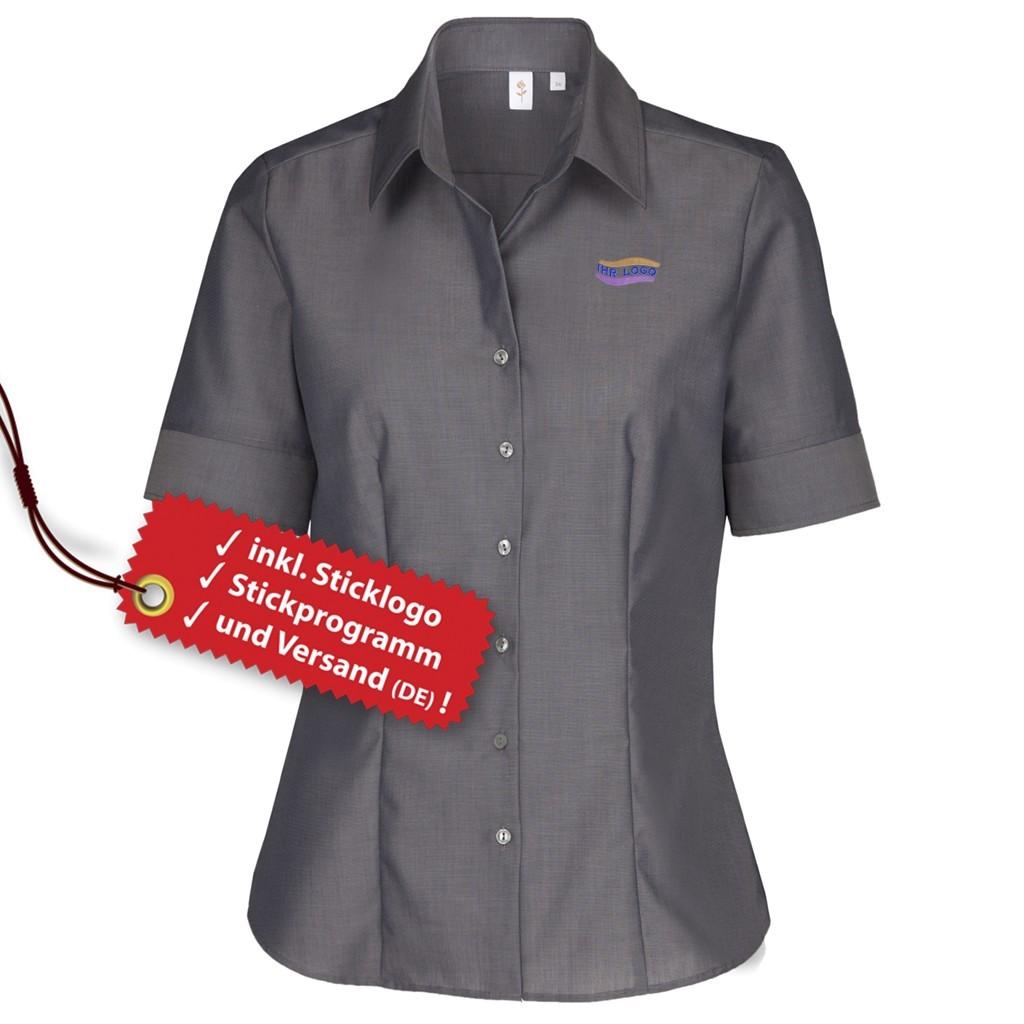 Modern Fit kurzarm Bluse inkl. Logo bestickt Seidensticker® | bedrucken, besticken, bedrucken lassen, besticken lassen, mit Logo |