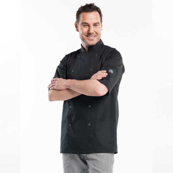 Basic Cooking Jacket Short Sleeve Hilton Poco Black Chaud Devant®