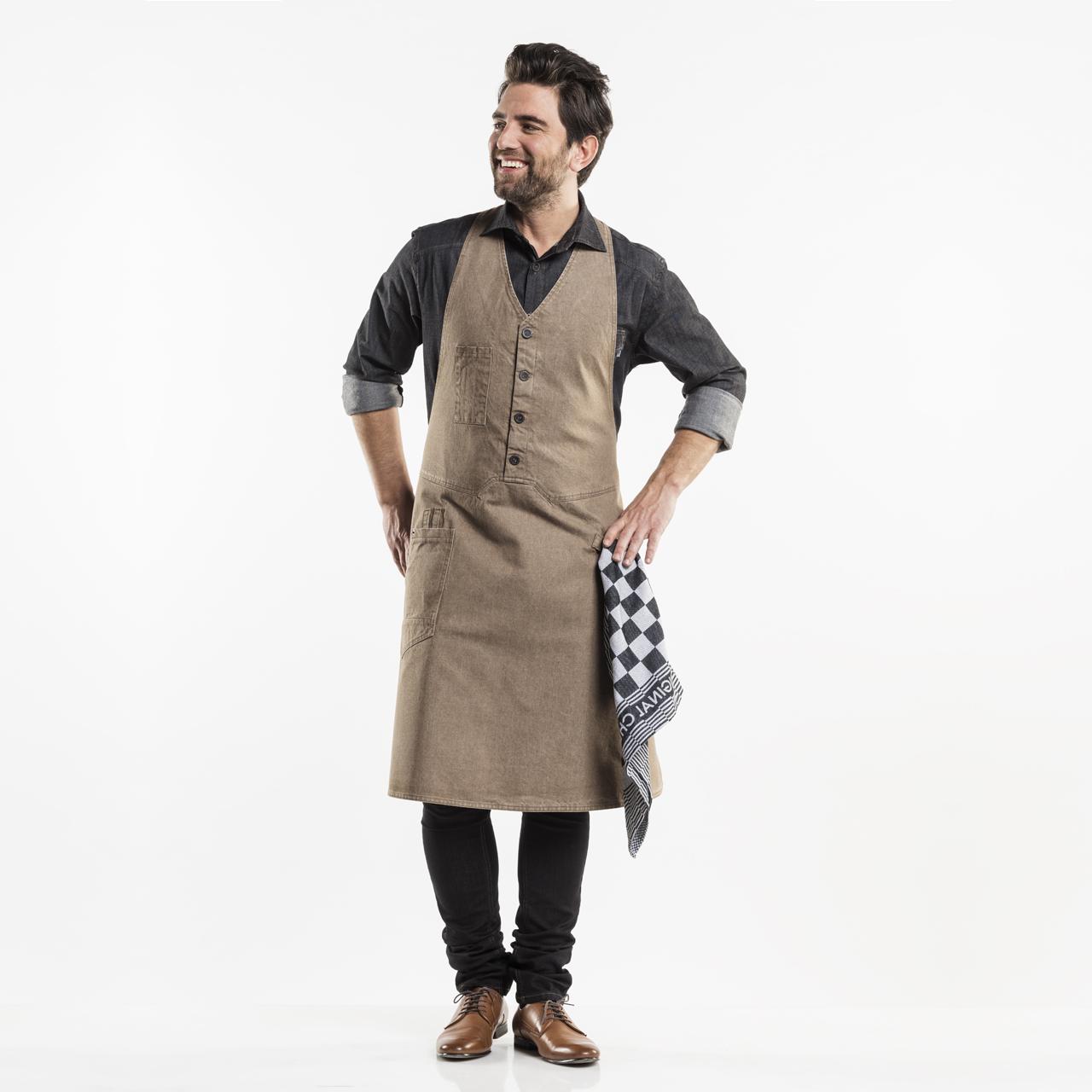 Bib apron V-neck with pocket