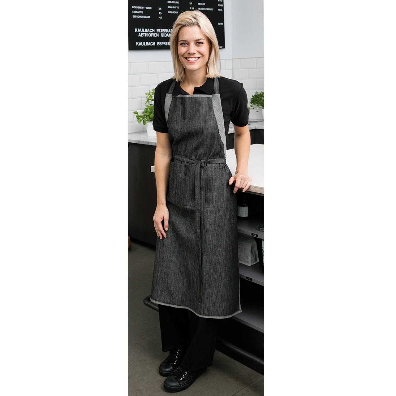 Latzschürze im Jeanslook 2-farbig Exner® | bedrucken, besticken, bedrucken lassen, besticken lassen, mit Logo |