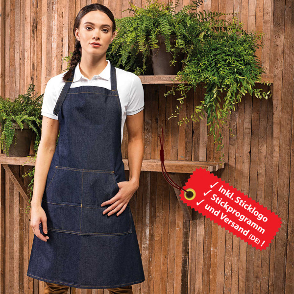 Denim bib apron embroidery incl. logo