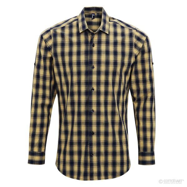 Herren 'Mulligan' Check Langarm Baumwollhemd Premier®