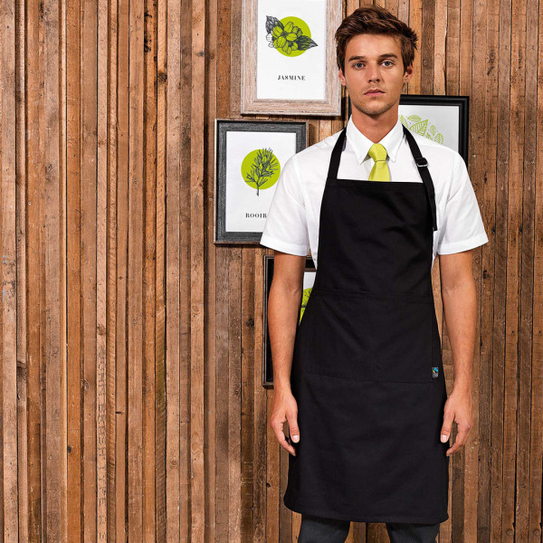 Fairtrade bib apron with pocket Premier®