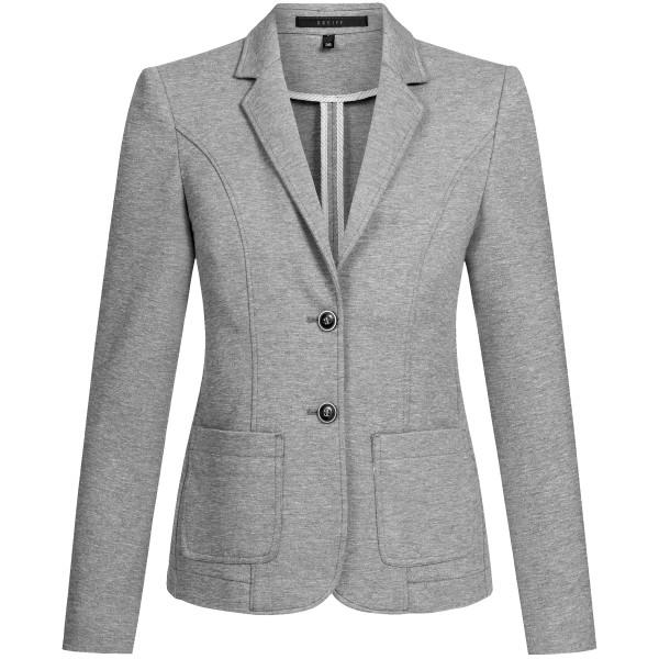 Ladies Casual Jersey Blazer Grey Mottled Regular Fit Greiff®