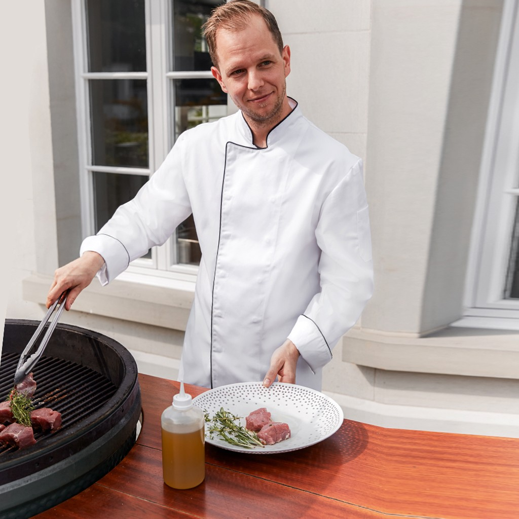 Basic Kochjacke mit Paspelierung Greiff® | bedrucken, besticken, bedrucken lassen, besticken lassen, mit Logo |