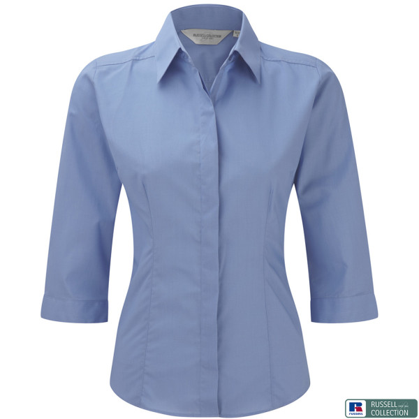 Popeline Bluse 3/4-Arm Slim Fit Russell®