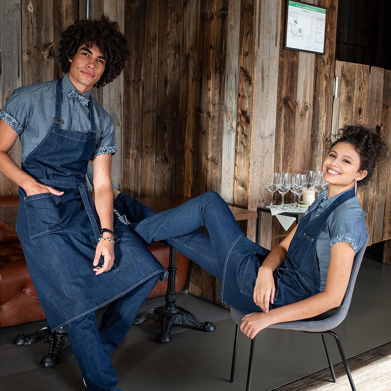 Premium Jeans Latzschürze Greiff® | bedrucken, besticken, bedrucken lassen, besticken lassen, mit Logo |