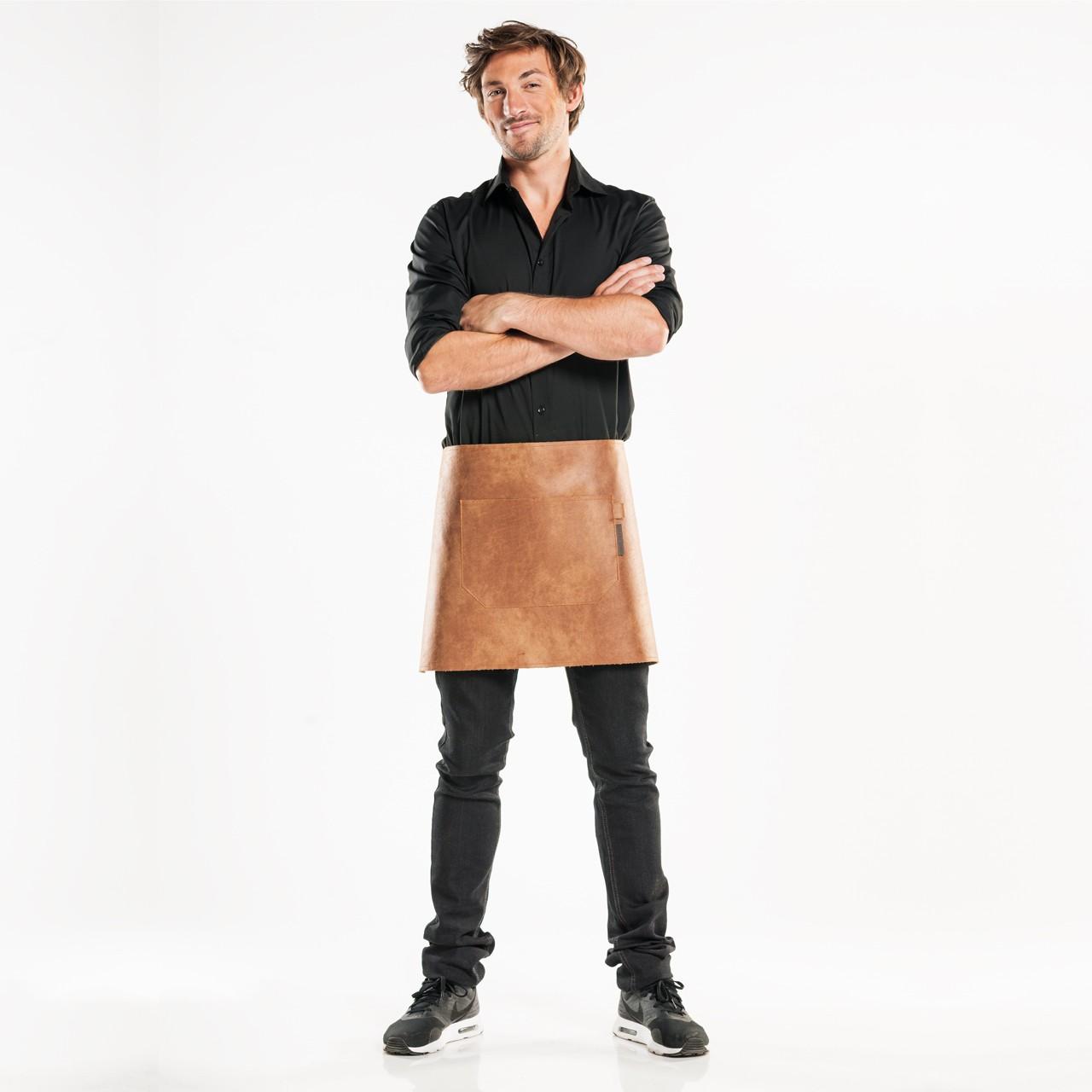 Leder Bistroschürze Regular mit Tasche Chaud Devant® | bedrucken, besticken, bedrucken lassen, besticken lassen, mit Logo |
